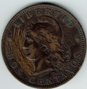 Argentina, Two Centavos 1891, F, WO2156